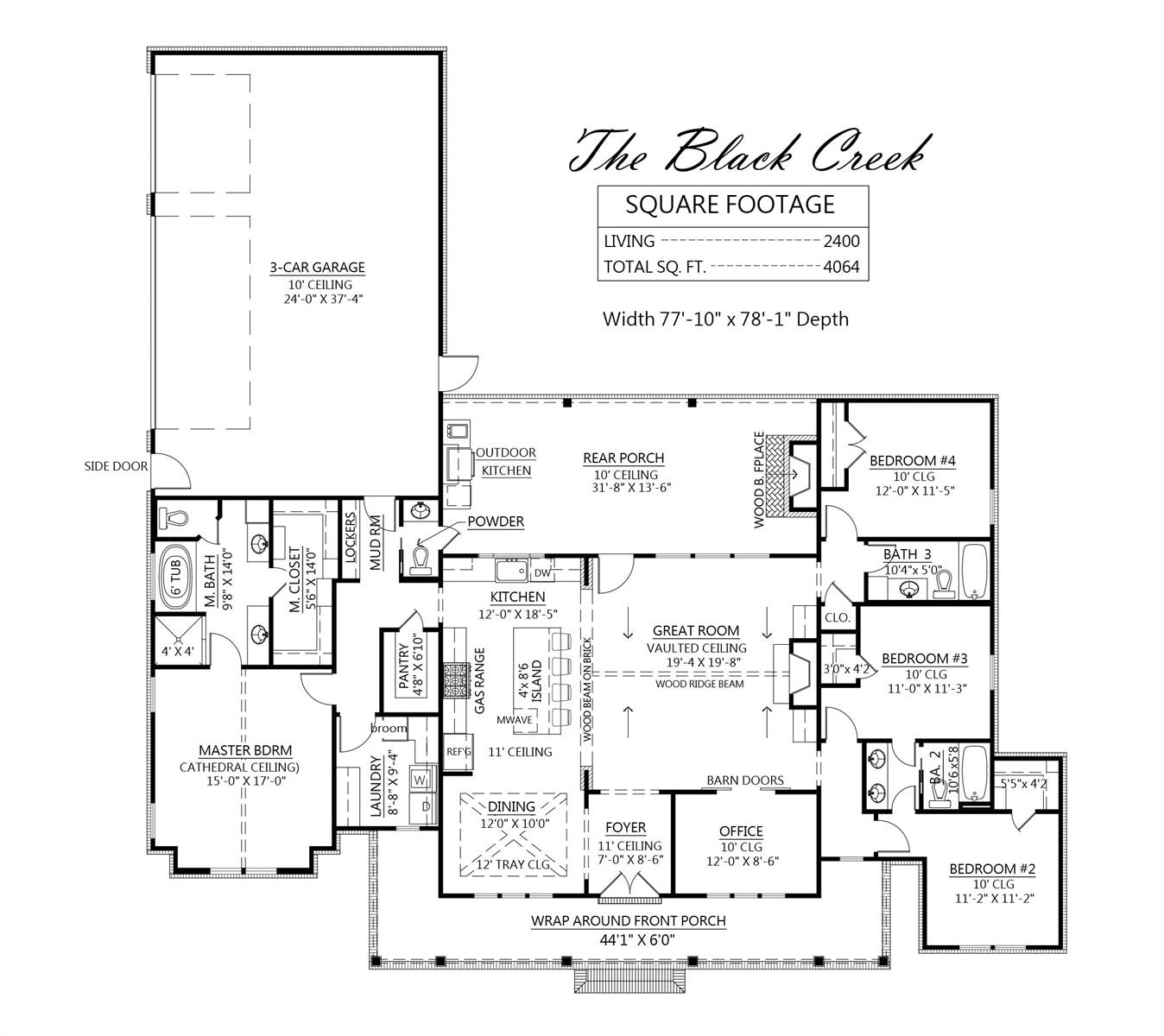 1st Floor image of Black Creek House Plan
