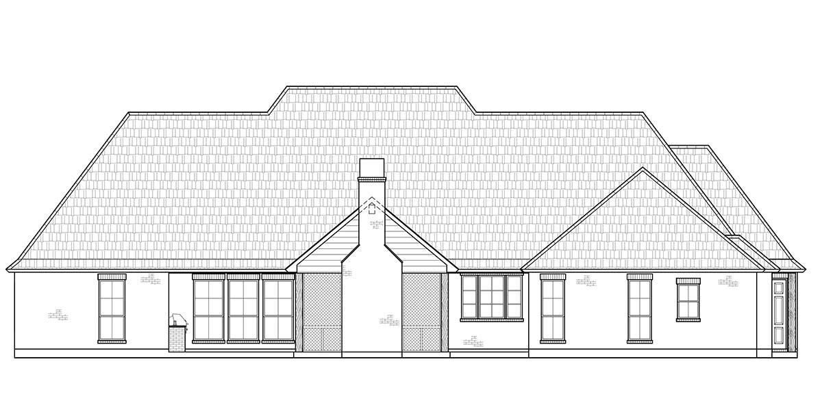 Rear View image of The Cobblestone House Plan