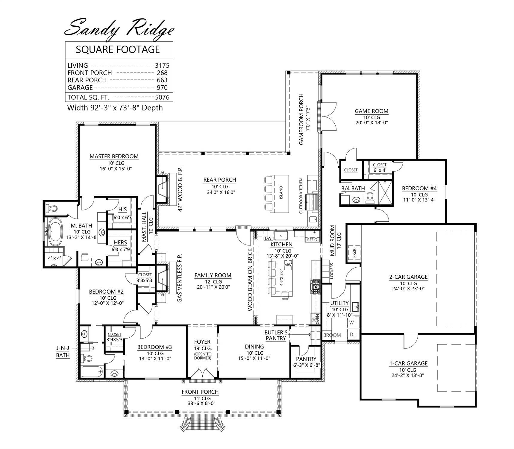 1st Floor image of The Sandy Ridge House Plan