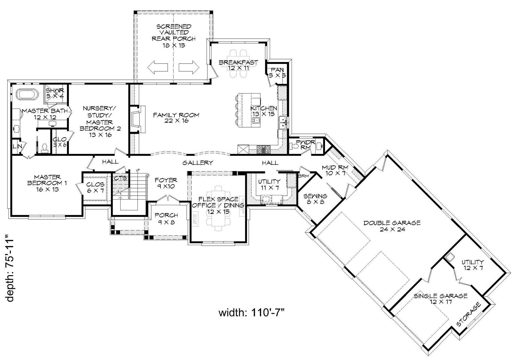 1st Floor Plan image of Chadwick House Plan
