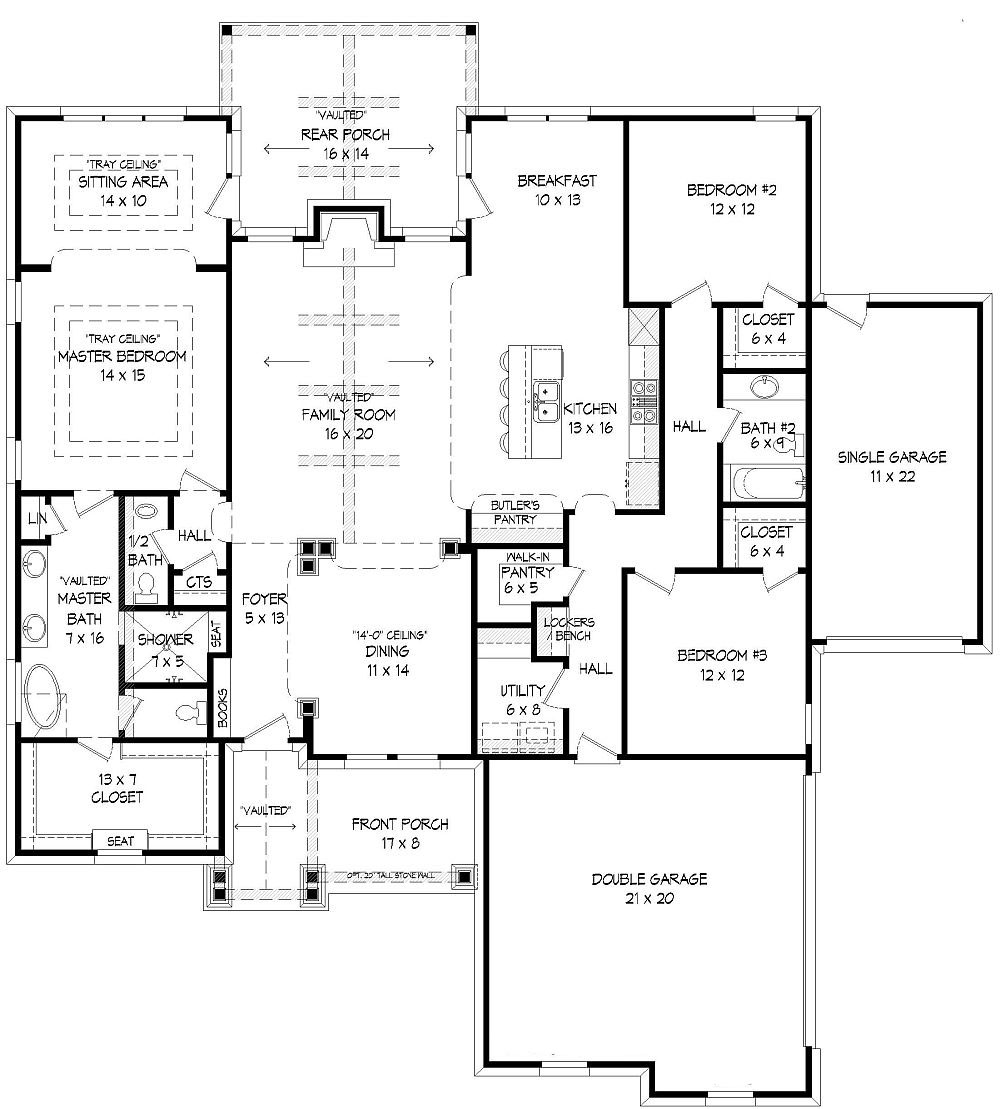 Craftsman house plan with 3 bedrooms and 2 5 baths plan 9404 for 5 bedroom craftsman house plans