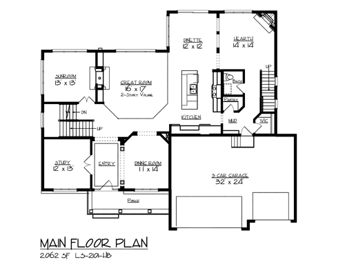 main floor plan image of the snail lake house plan - Lakehouse Plans