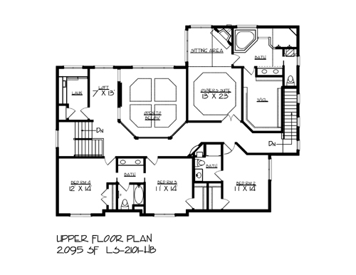 upper floor plan image of the snail lake house plan - Lake House Plans