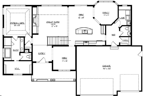 main floor plan image of the sunset lake house plan - Lake House Plans