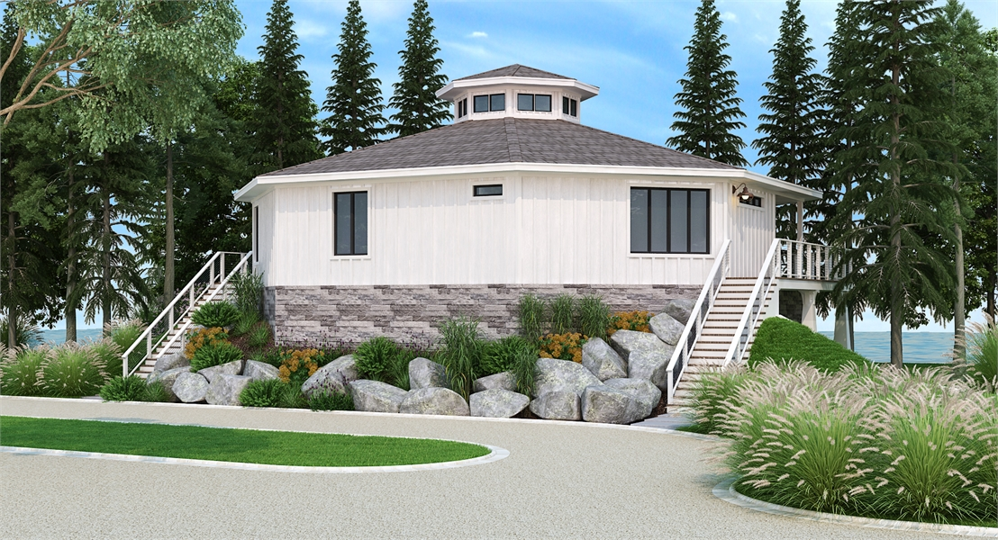 Back Rendering image of Eight Corners House Plan