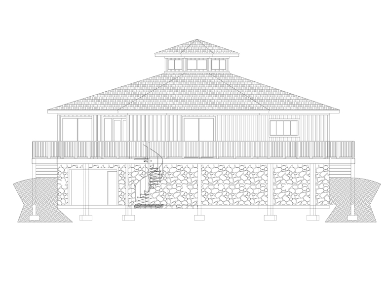 Rear View image of Eight Corners House Plan