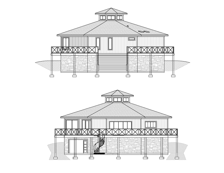 Front and Rear Elevations image of Octagon House Plan