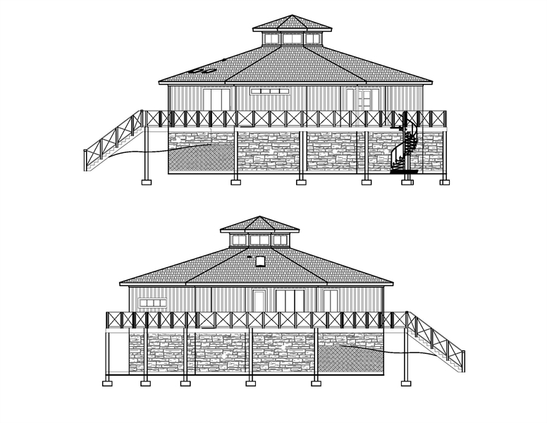 Left and Right Elevations image of Octagon House Plan