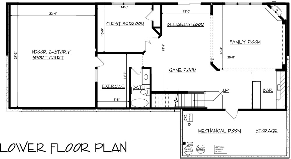 House 3-Story Craftsman with Sport Court House Plan - Green ...