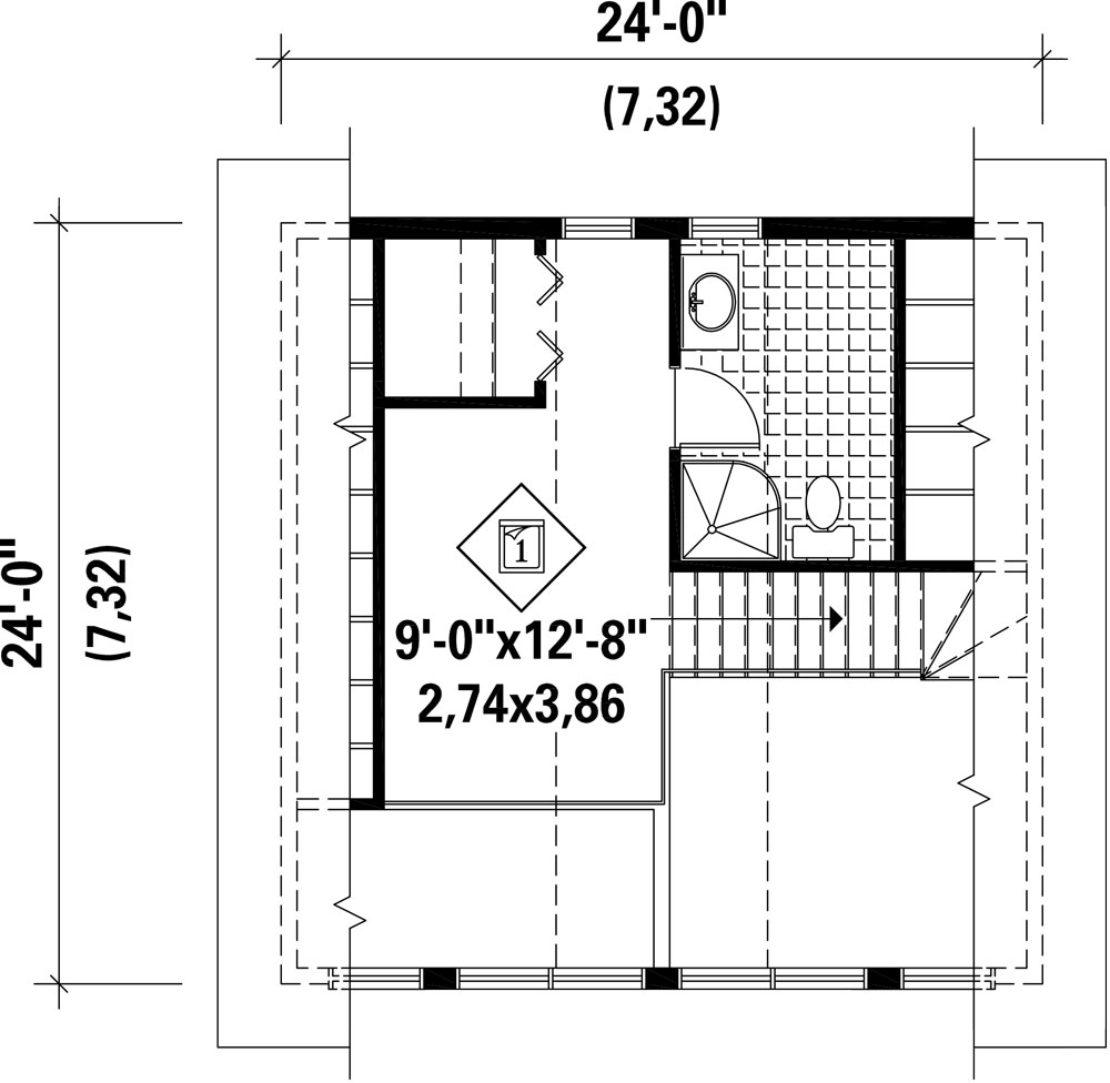 Cottage house plan with 2 bedrooms and 2 5 baths plan 9807 - Plan de suite parentale avec salle de bain dressing ...