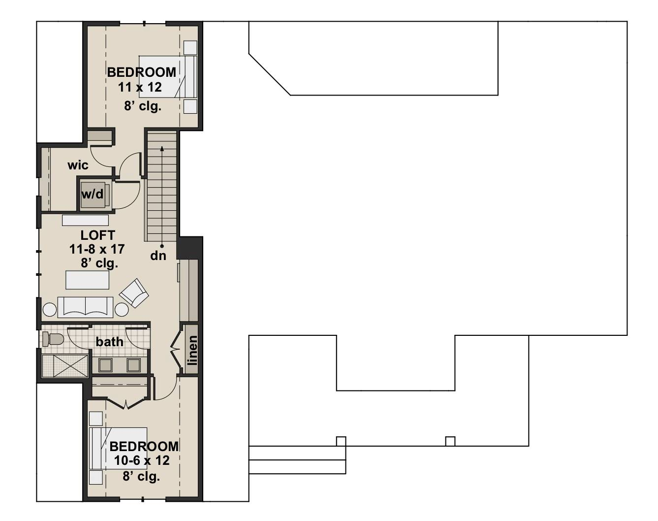2nd Floor Plan image of Country Compton House Plan
