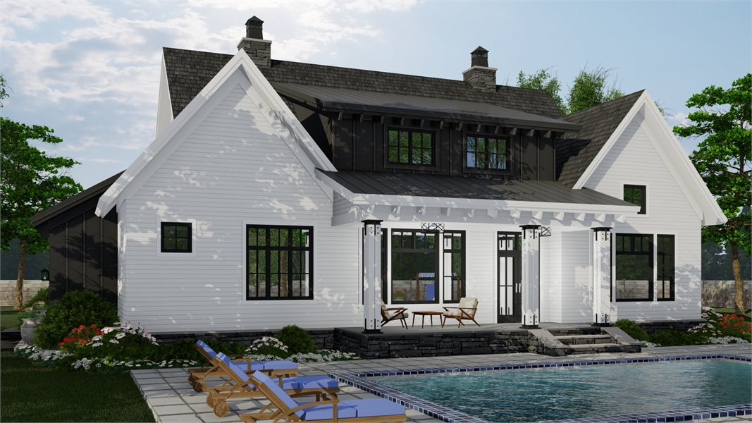 Rear Photo image of Hidden Brook House Plan