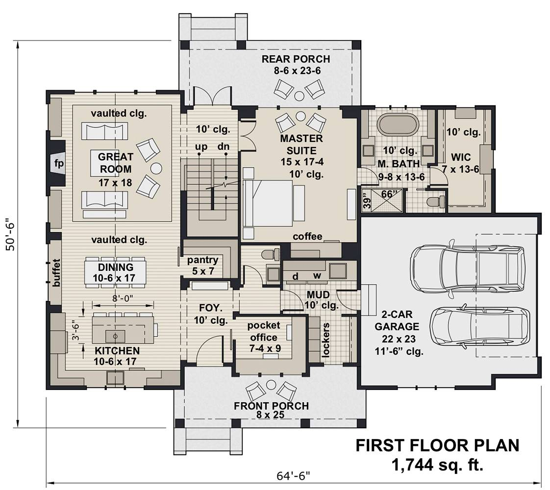 1st Floor Plan image of Hidden Brook House Plan