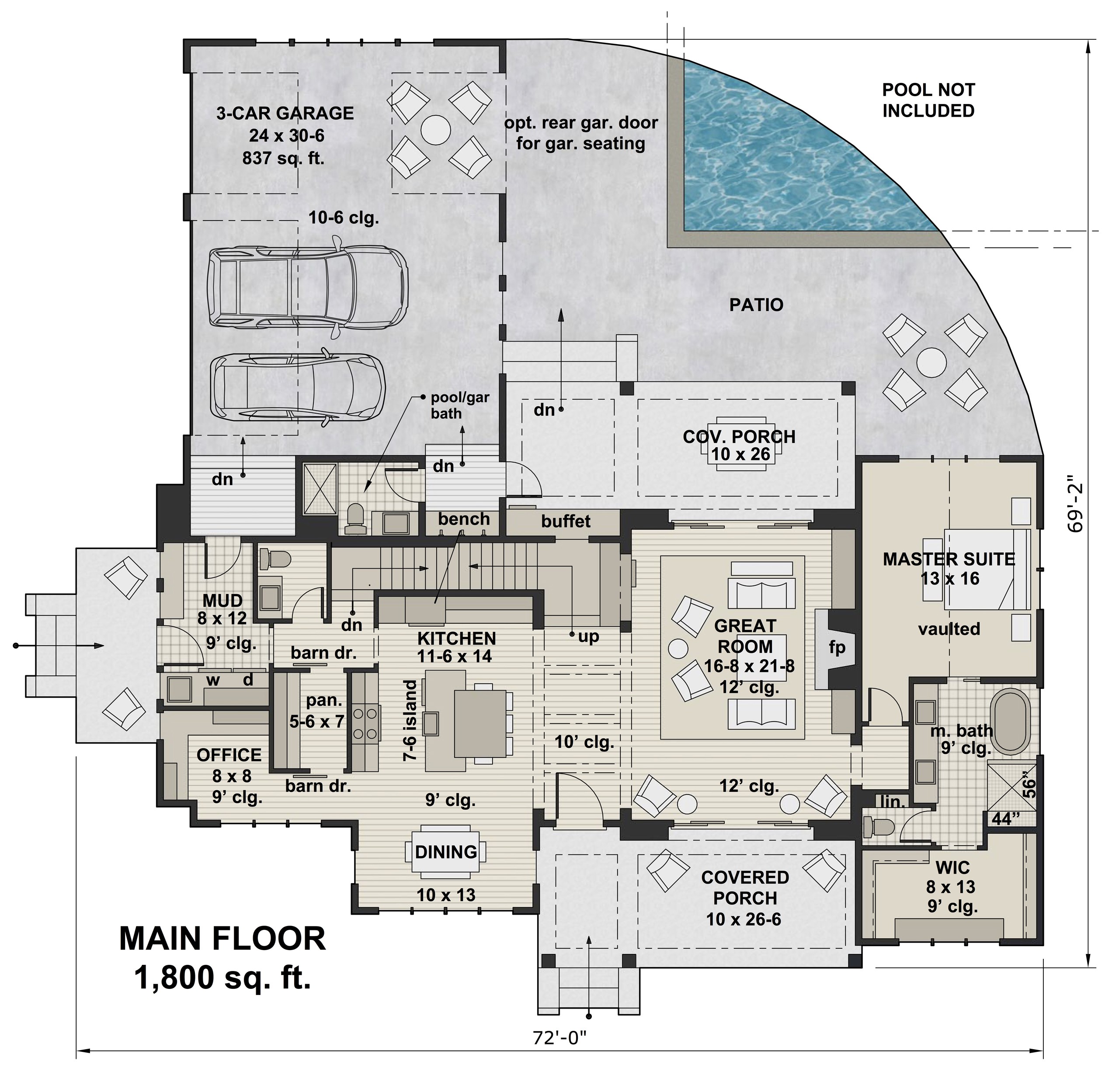 1st Floor image of Green Acres House Plan