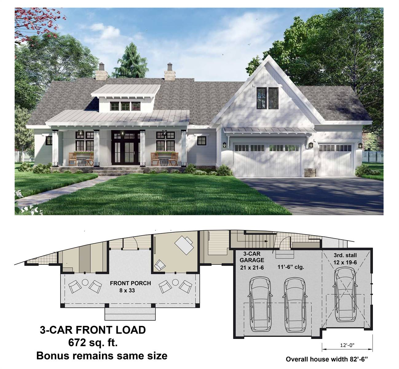 3-Car Front Entry Option