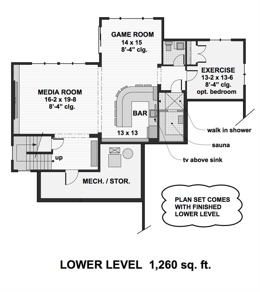 Lower Level Floor Plan by DFD House Plans