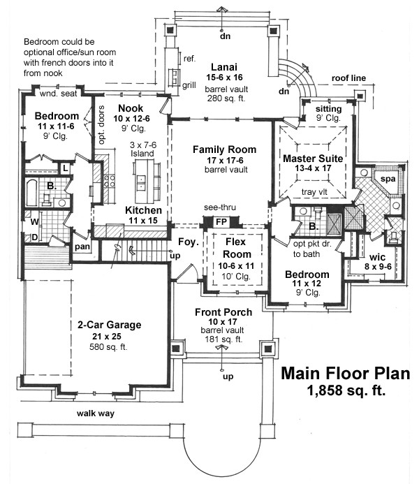 Craftsman house plan with 3 bedrooms and 3 5 baths plan 9670 for Dfd house plans 1897
