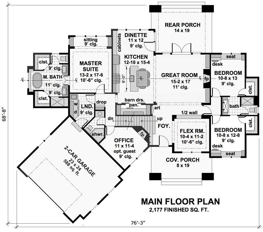 1st Floor Plan image of Litchfield House Plan