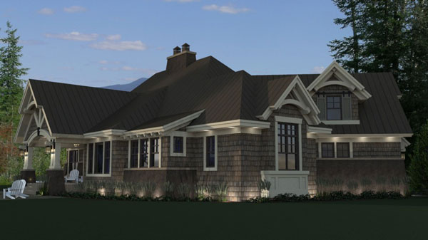Rear Rendering image of Litchfield House Plan