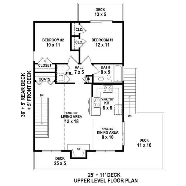 Beach house plan with 2 bedrooms and 1 5 baths plan 4372 for 2 bedroom beach house plans
