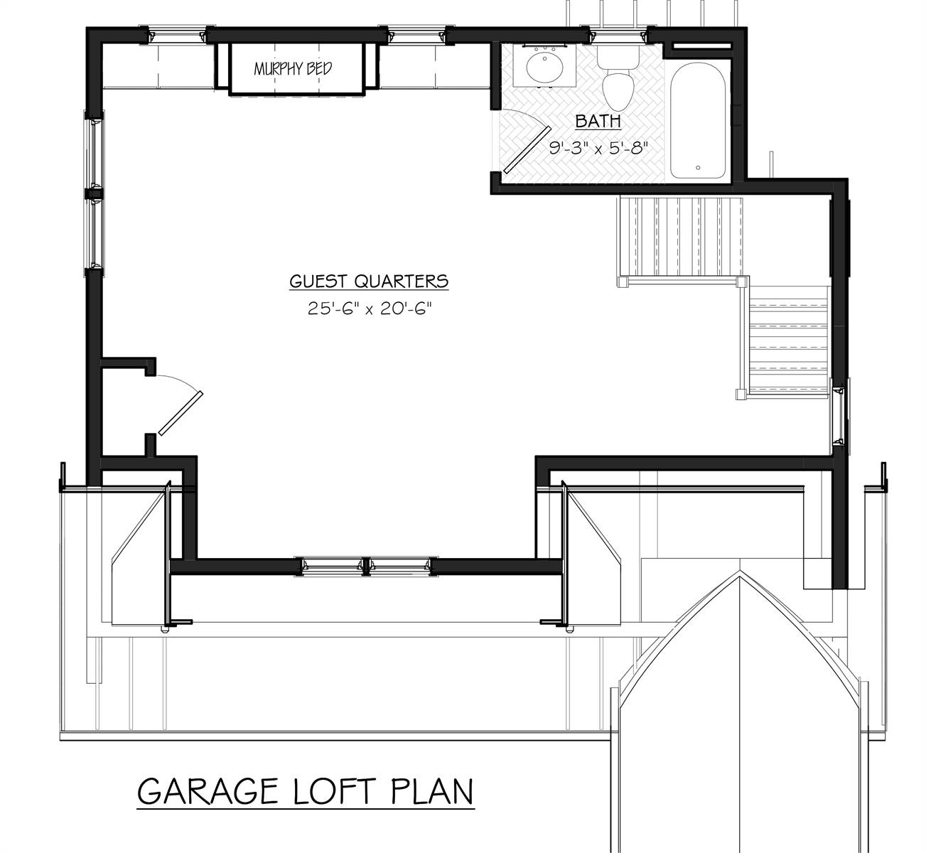 Garage Loft Floor Plan by DFD House Plans