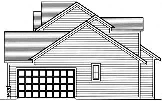 Fernbank Right Side Elevation by DFD House Plans