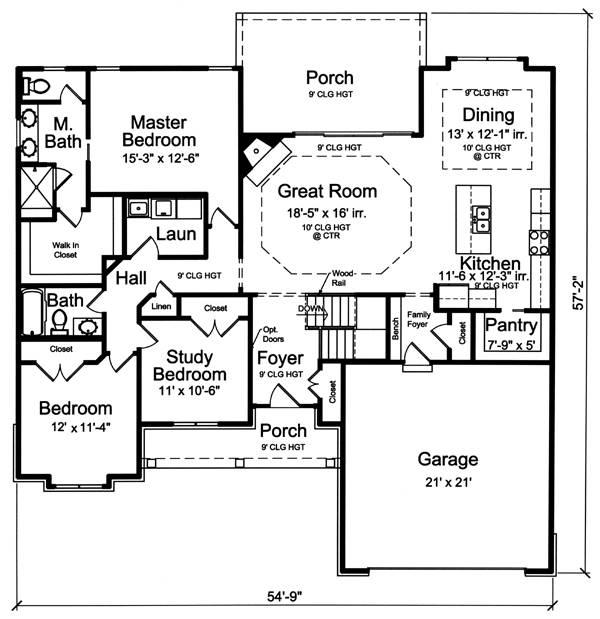 1st Floor Plan image of Baldwin House Plan