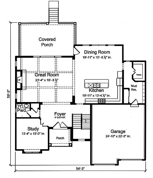 First Floor Plan image of The Applewood House Plan