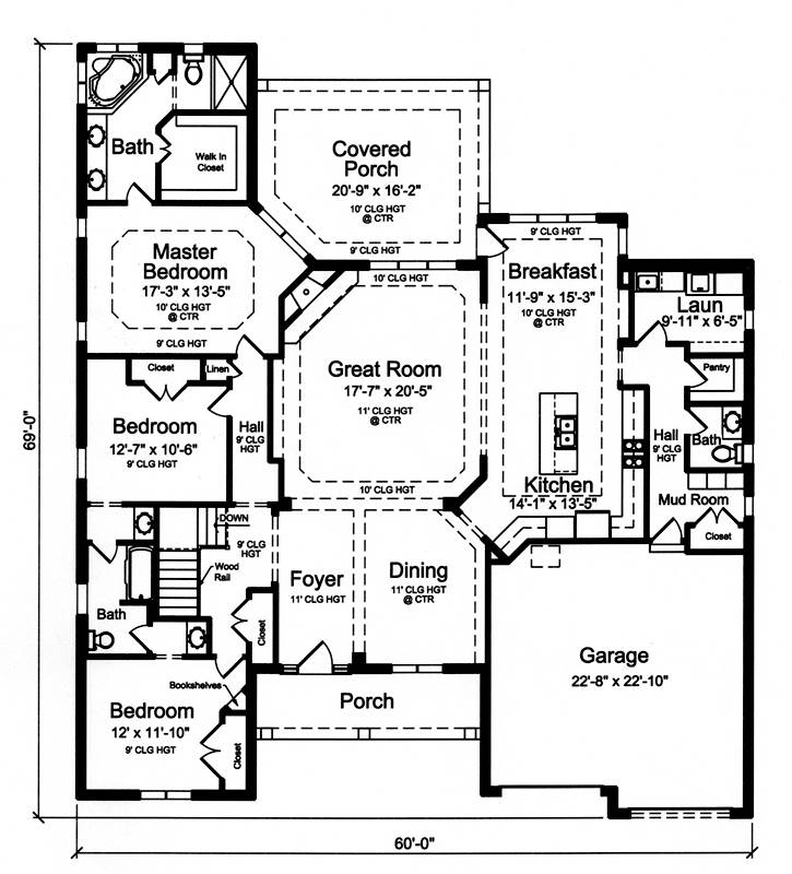 First Floor Plan image of Hilliard House Plan
