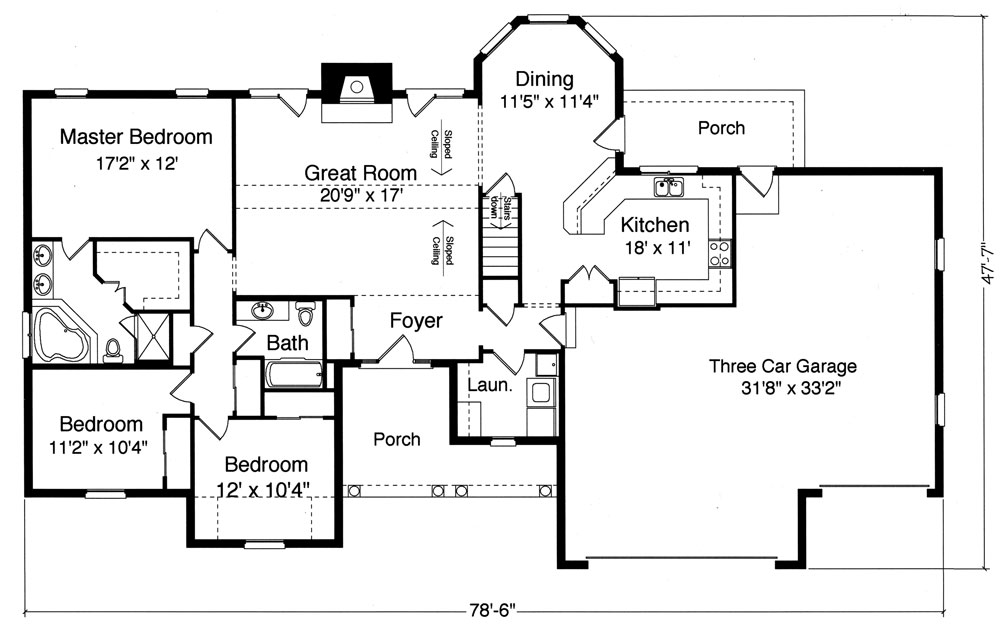 Ranch House Plan with 3 Bedrooms and 2.5 Baths - Plan 9076