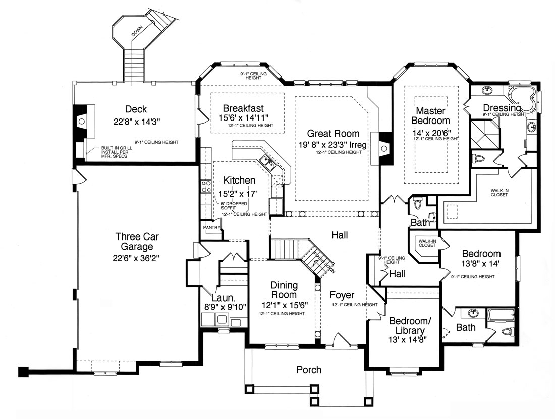 Craftsman House Plan with 3 Bedrooms and 2.5 Baths - Plan 9093
