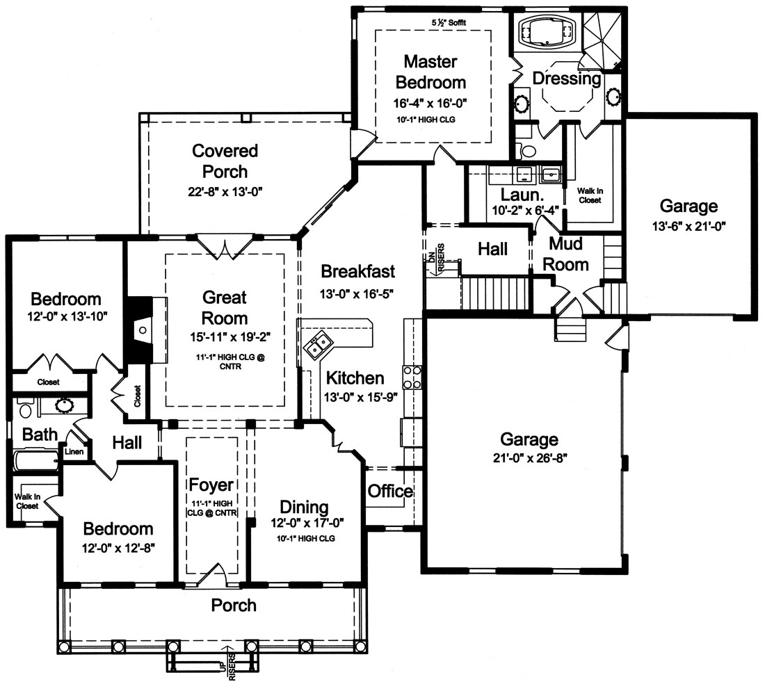 Craftsman house plan with 3 bedrooms and 2 5 baths plan 9096 for Large ranch floor plans