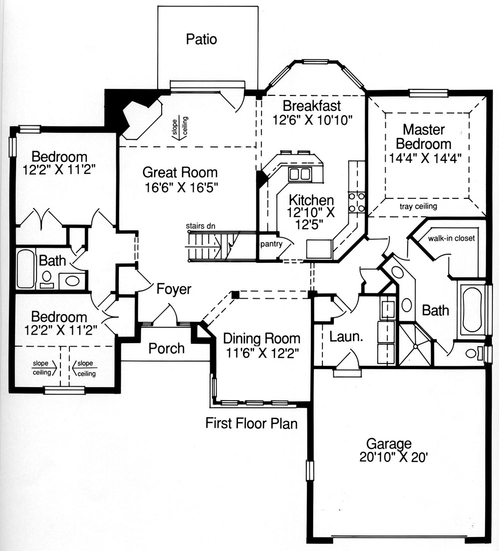 Ranch house plan with 3 bedrooms and 2 5 baths plan 9084 Residential home floor plans