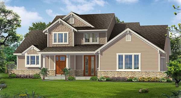 Fernbank Front Rendering by DFD House Plans