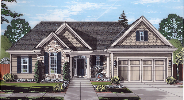 Front Rendering image of The Garden View House Plan