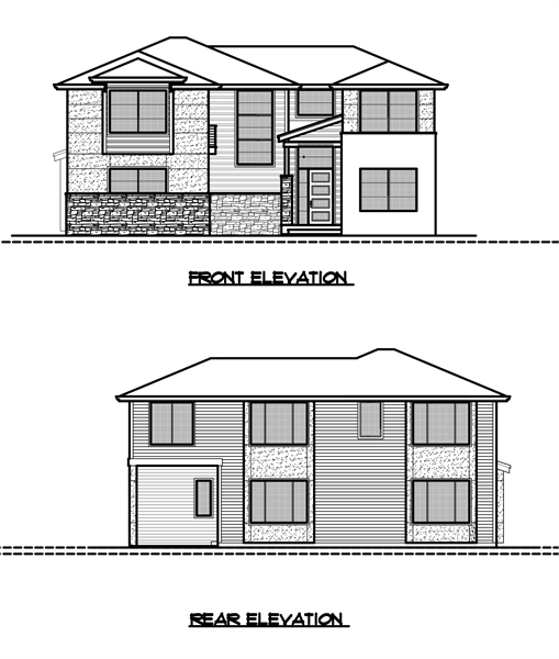 Front and Rear Elevation by DFD House Plans