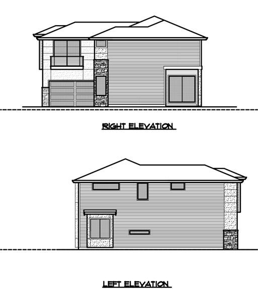 Right and Left Elevation by DFD House Plans