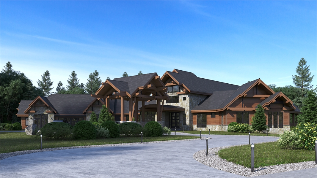 Front Angle image of Aspen Lodge House Plan
