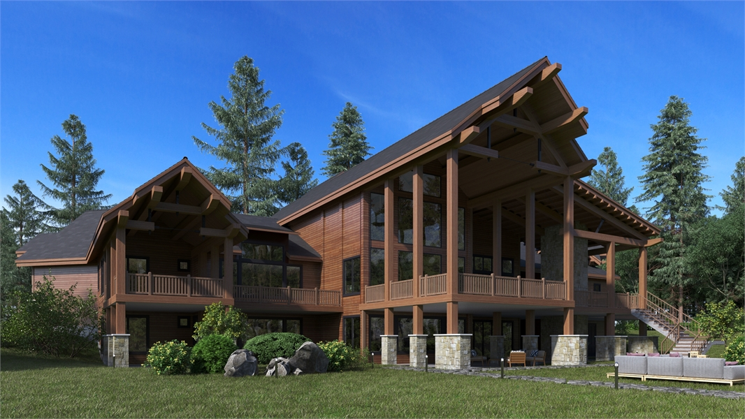 Rear Angle image of Aspen Lodge House Plan