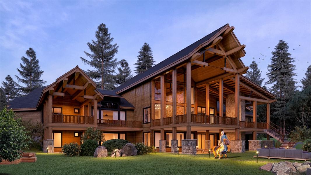 Rear Angle Twilight image of Aspen Lodge House Plan