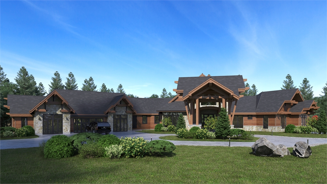 Front View image of Aspen Lodge House Plan