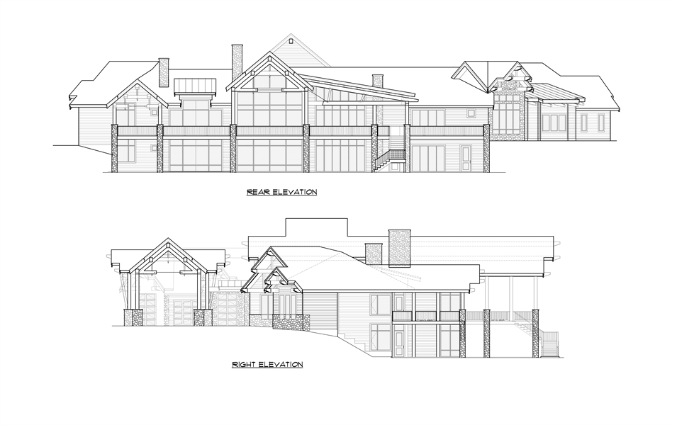 Rear Right Elevation image of Aspen Lodge House Plan