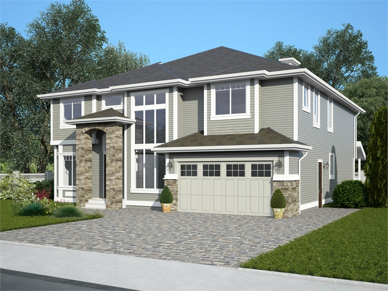 Front Angle by DFD House Plans