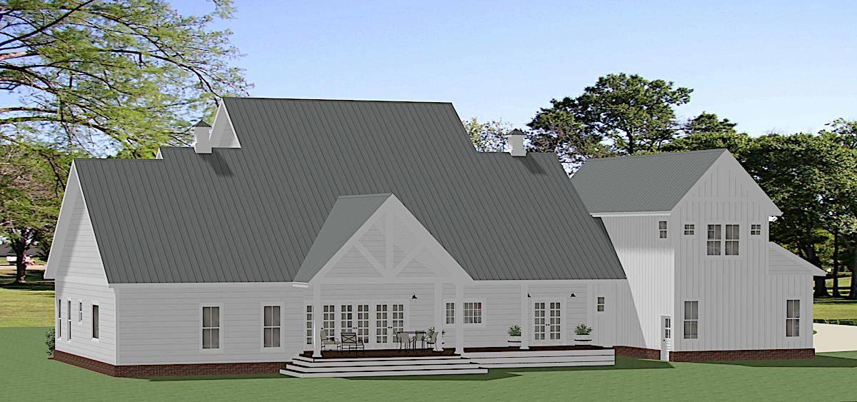 Rear View image of White Oak House Plan