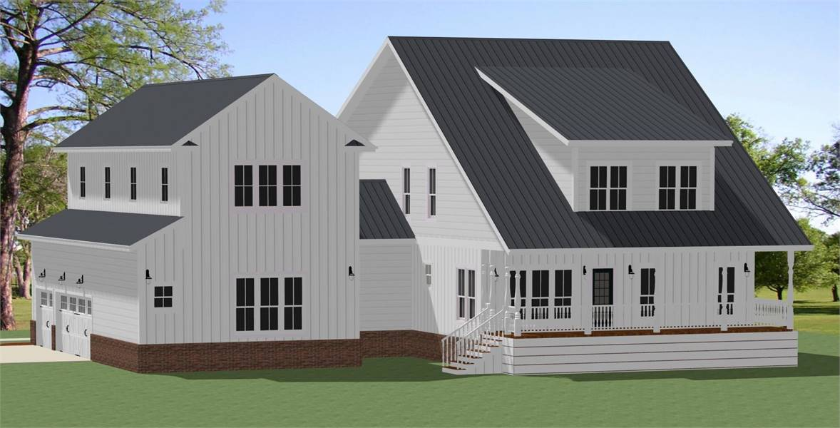 Rear View image of Chapel Hill House Plan