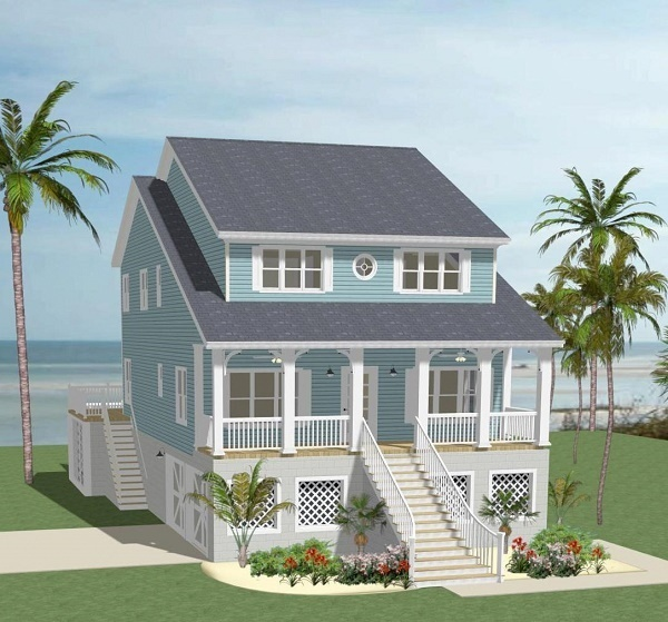 Beach House Plan with 5 Bedrooms and 3.5 Baths - Plan 5532