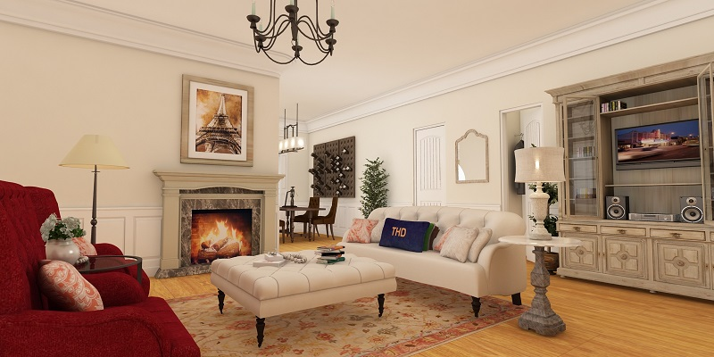 Living Room w/Fireplace View by DFD House Plans