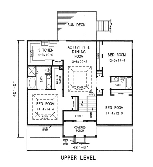 upper level plan by DFD House Plans