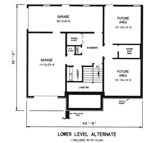 alternate lower level plan by DFD House Plans