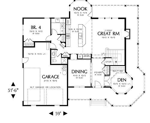 First Floor Plan image of Merrimac House Plan